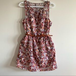 Floral Colorful Summer Mini Dress with belt